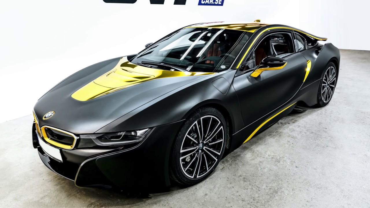 Bmw I8 Gold >> BMW I8 - Matte black & gold chrome - YouTube