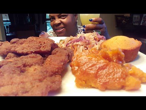 Sunday Mukbang/Fried Pork Chops & Sweet Potato Souffle/Taste Test Skittles & Cheezit/📣Tressa