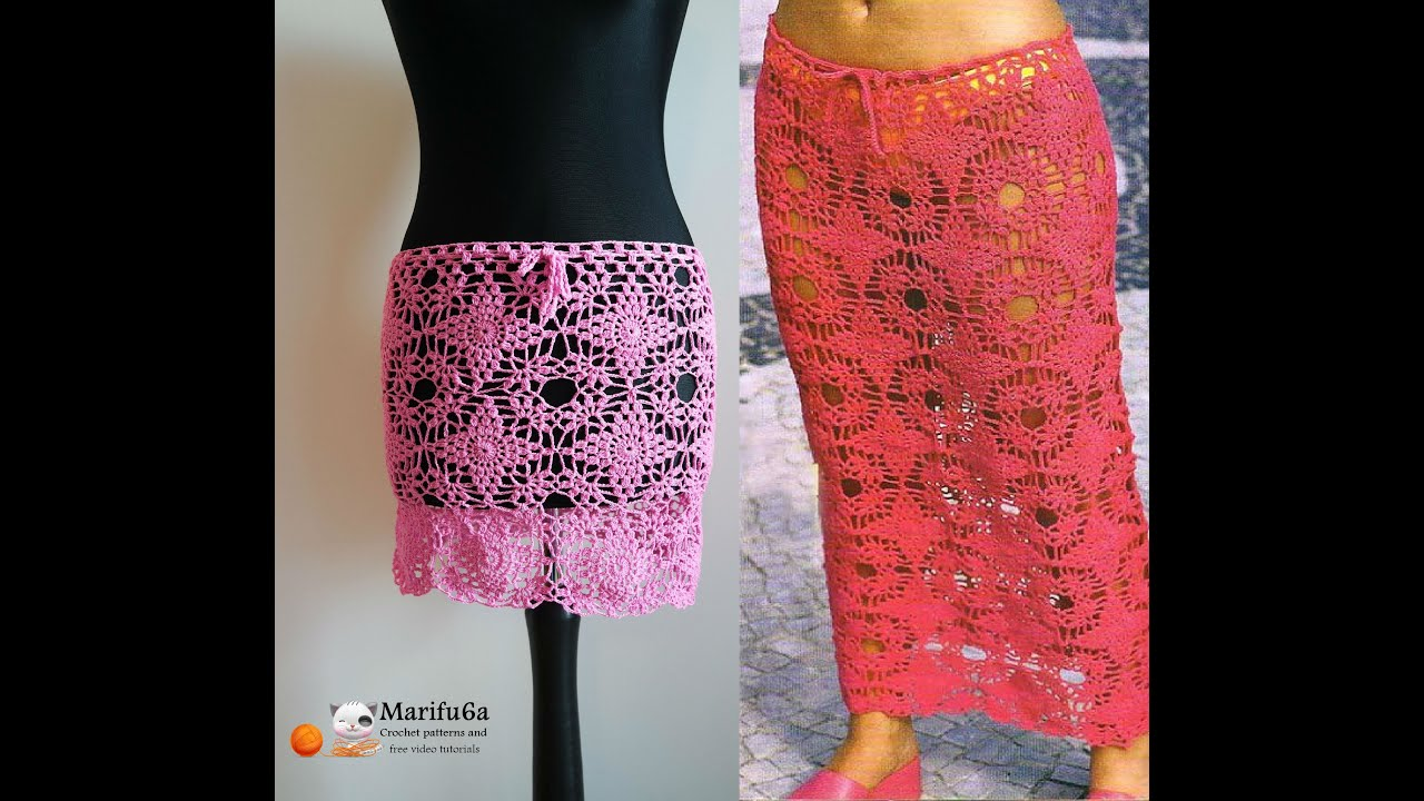 How to crochet mini midi maxi skirt all sizes faldas al crochet free ...