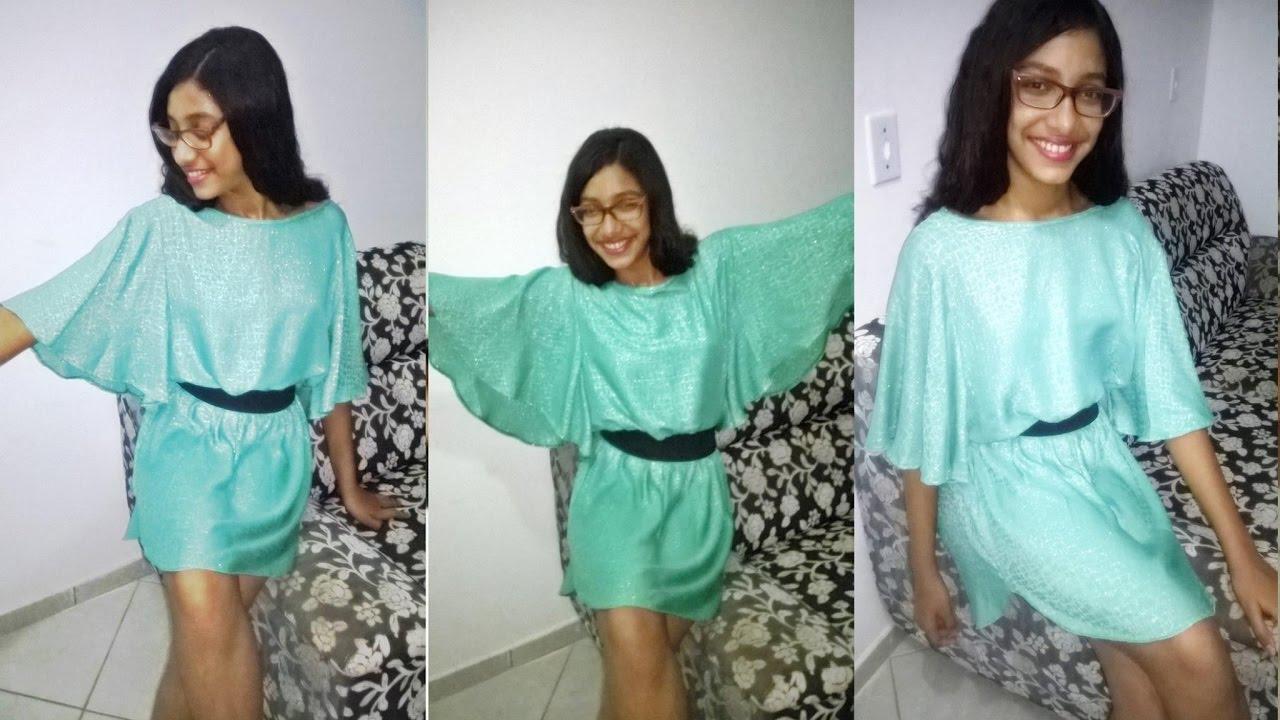 3e4d880dc Como fazer vestido manga morcego tal irmãs Manuela Sampaio - YouTube
