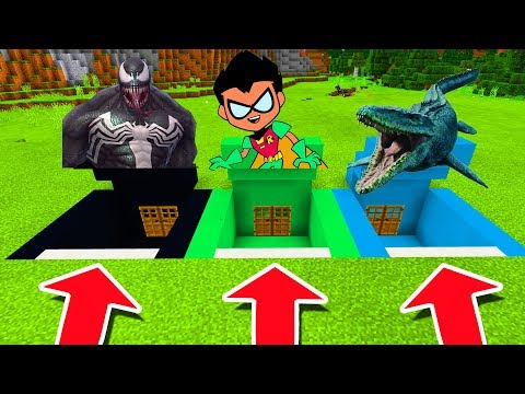 Minecraft PE : DO NOT CHOOSE THE WRONG SECRET BASE! (Venom, Teen Titans Go & Mosasaurus)
