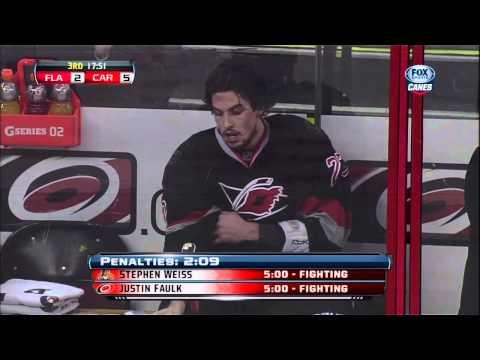 Stephen Weiss vs Justin Faulk fight 2 Mar 2013 Florida Panthers vs Carolina Hurricanes NHL Hockey