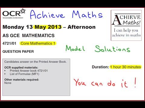 A-level Maths OCR June 2013 Core Mathematics 1 C1 (complete paper)