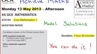 A-level Maths OCR June 2013 Core Mathematics 1 (complete paper)