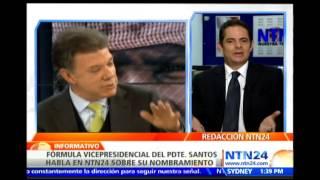 Germán Vargas Lleras, fórmula presidencial de Juan Manuel Santos habla en NTN24 sobre nombramiento