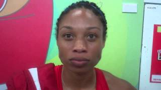 Allyson Felix talks after splitting a ridiculous 47.7 in 4x400 at 2015 Worlds