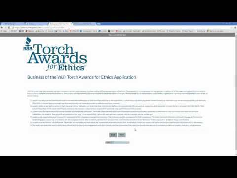 How to Complete Your Business of the Year Torch Awards for Ethics Application
