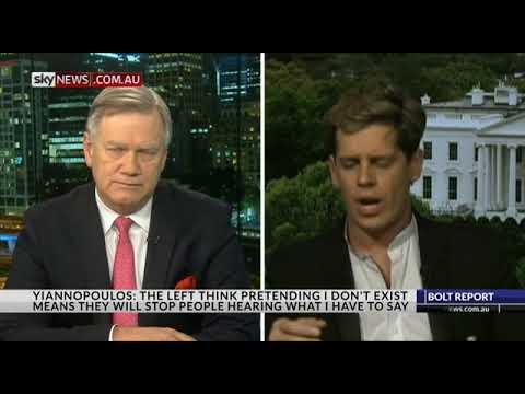 Milo Yiannopoulos  [14th Sept 2017] CNN BANS MILO from Australian TV 'Bolt Report'