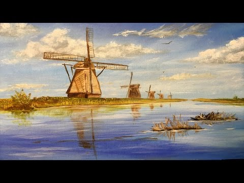 Windmills of Holland, Collaboration, Acrylic painting, clive5art