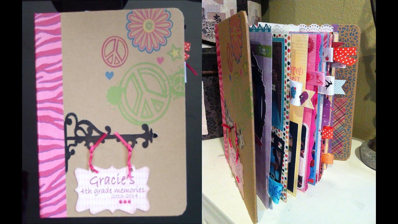 How to scrapbook photos - How To Make A School Mini Scrapbook Album Gracie S 4th Grade Album Part 2