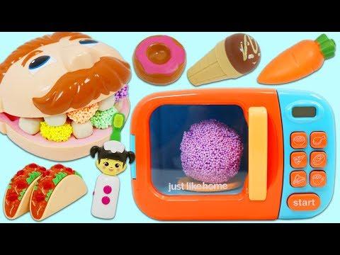 Feeding Mr. Play Doh Head Using The Magic Toy Microwave!