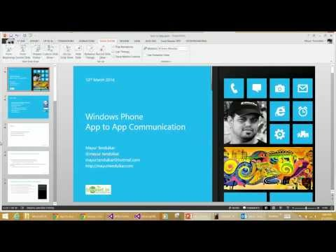 BDotNet Wednesday Hangout - App To App Communication In Windows Phone 8 By Mayur Tendulkar