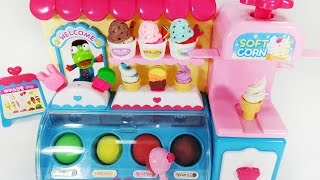 뽀로로 달님이 아이스크림 가게 점토 놀이 요리놀이 소꿉놀이 장난감 Play Doh Ice Cream Food Toys Playset Kit cửa hàng kem Toy chơi