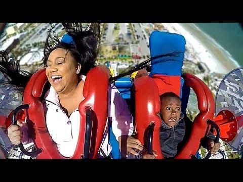Moms & Sons #2   Funny Slingshot Ride Compilation