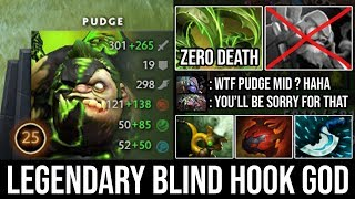 How Pro Carry Pudge Mid 100% Destroyed Everyone with 10Min Godlike \u0026 Blind Hook Zero Death - DotA 2