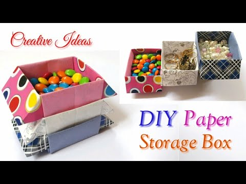 How to Make a Paper Storage Box - DIY Origami Box - Craft for Kids - Creative Ideas..
