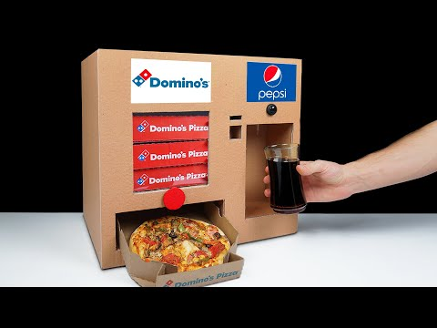 DIY How to Make Dominos Pizza Vending Machine and Pepsi Fountain Machine from Cardboard