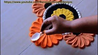 Easy and beautiful rangoli designs using spoon l muggulu kolam l fकैसे रंगोली डिजाइन बनाने के लिए