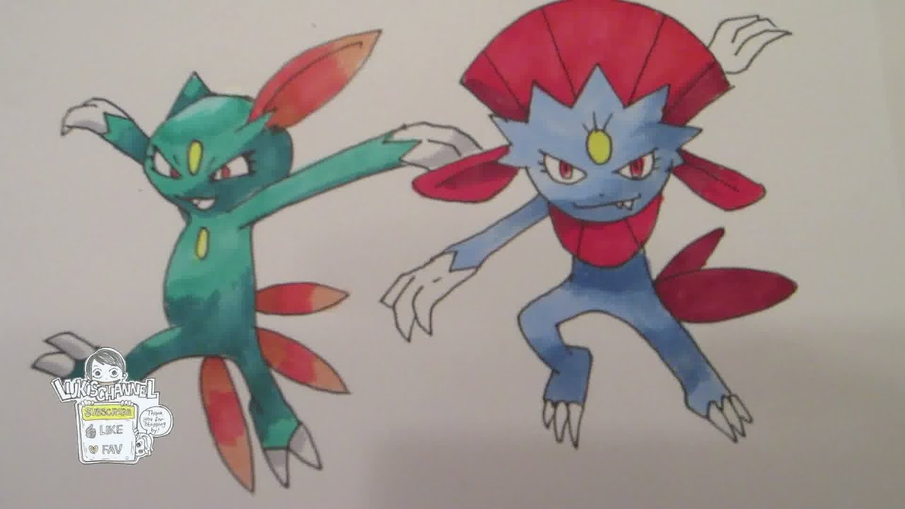 How To Draw Pokemon No 215 Sneasel No 461 Weavile Youtube