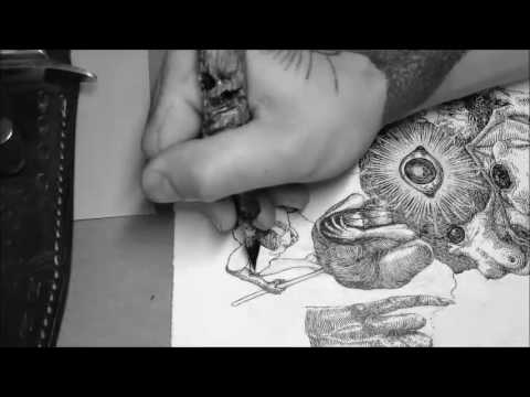 """""""Californianus Hoodoo""""  Drawing Demo Time Lapse Illustration Fine Line Work By, Blial Cabal"""