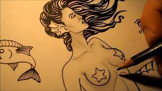 How to draw a Mermaid Tattoo Design