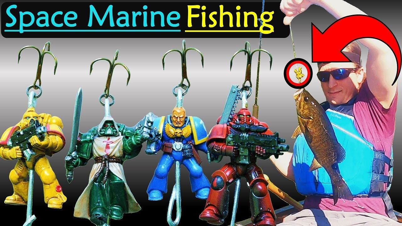 Literally Fishing using Warhammer Space Marines as Lures.