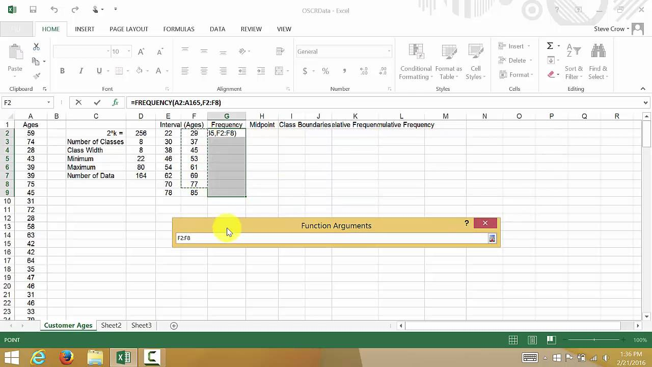 create a frequency distribution table
