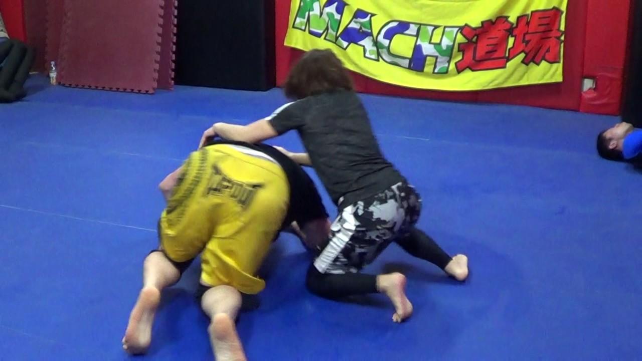 lil asian japanese woman vs big scary wolfman mixed wrestling jiu