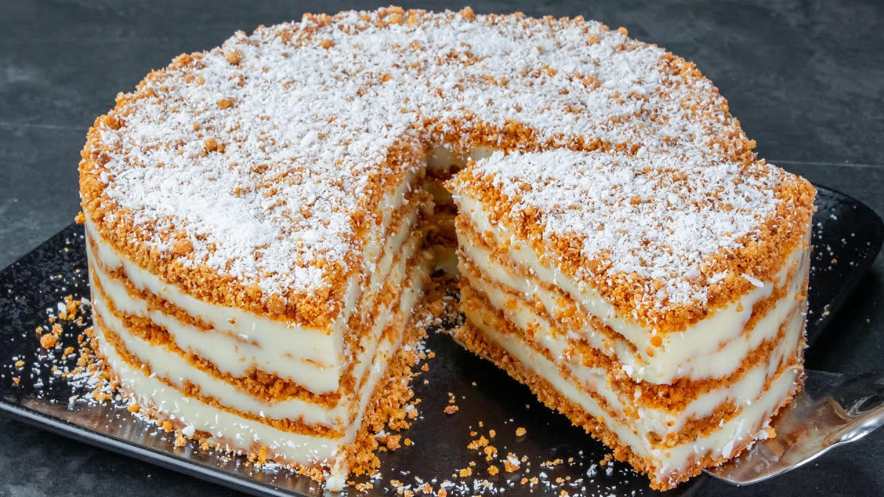 Without oven! Fast and delicious cake recipe made of the simplest ingredients
