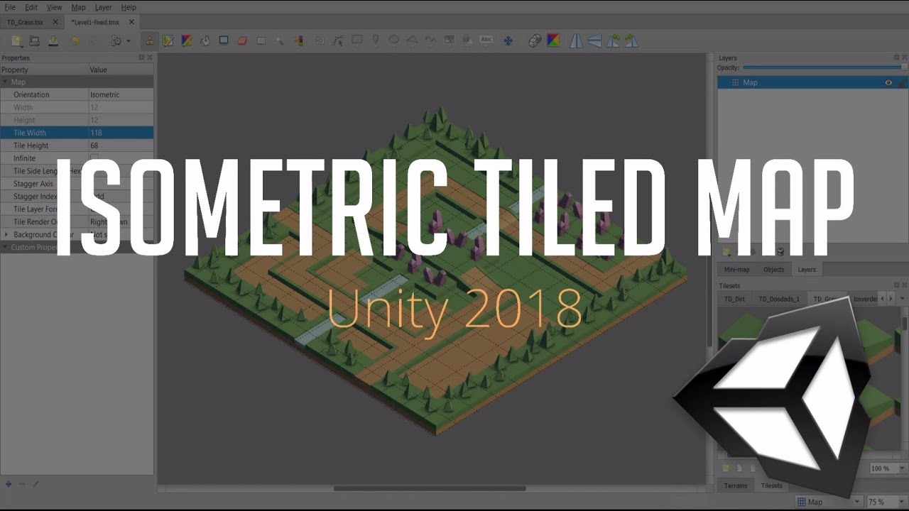 Create Isometric Maps and Import into Unity 2018 | Tiled & Tiled2Unity  Tutorial