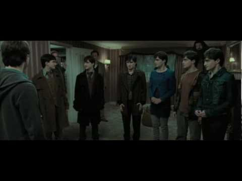 Harry potter and the deathly hallows part 1 seven potters scene