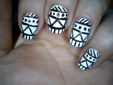 Easy aztec nail art youtube easy aztec nail art prinsesfo Images