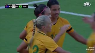 Matildas score a goal against Brazil in Tournament of Nations final