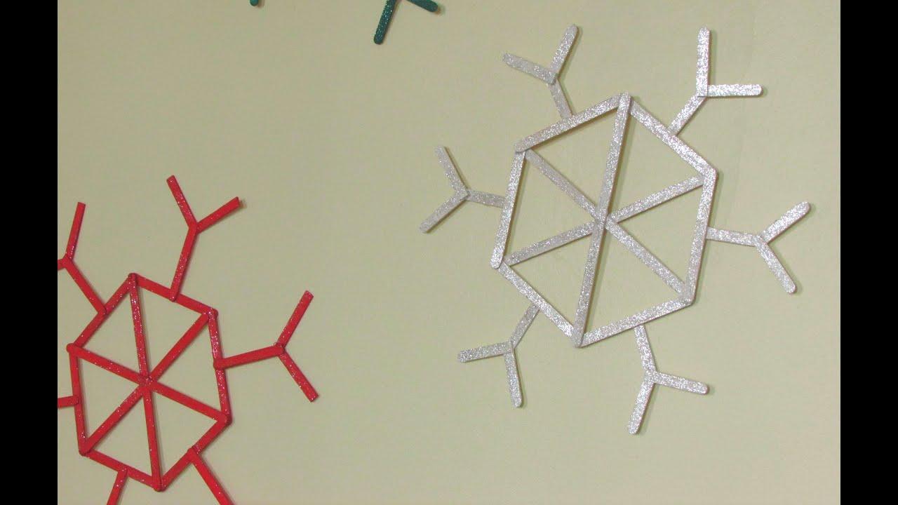 Manualidades navide as copos de nieve con palitos de - Copos de nieve manualidades ...