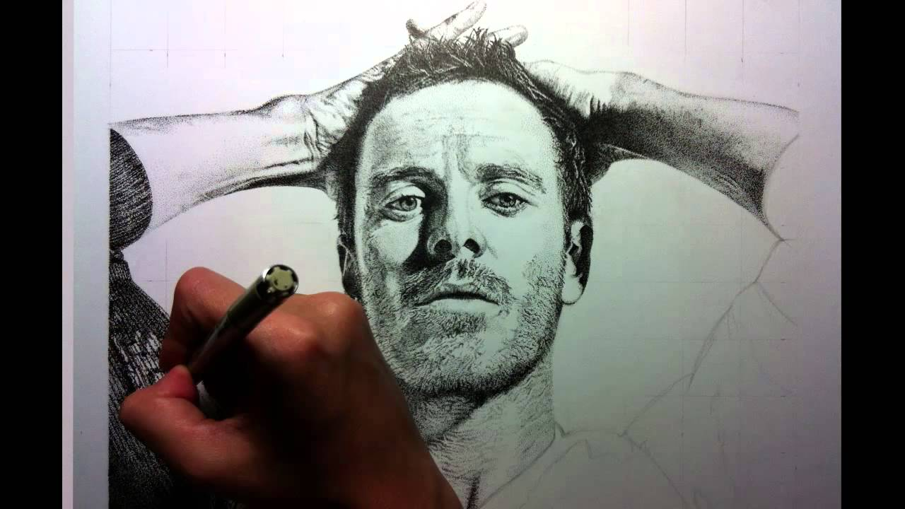 Speed Drawing Portrait Michael Fassbender Using Only Dots Youtube