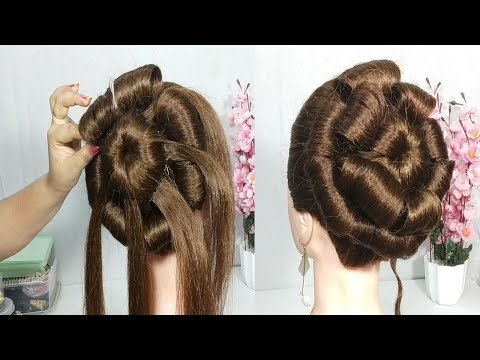 Very Easy Flower bun hairstyle for wedding || latest hairstyle || hairstyle 2019 || easy hairstyles thumbnail