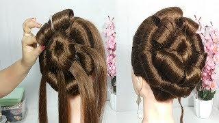 Very Easy Flower bun hairstyle for wedding    latest hairstyle    hairstyle 2019    easy hairstyles