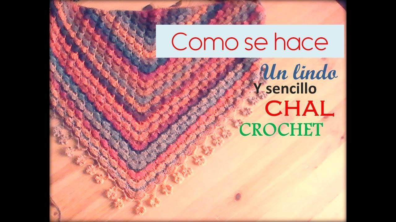 COMO SE HACE un lindo y sencillo CHAL a crochet (zurdo) - YouTube