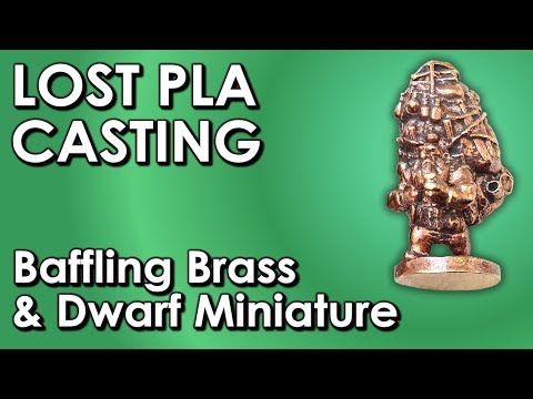 Brass dwarf miniature Warhammer figurine lost PLA casting - 3D printer to metal casting #pla8