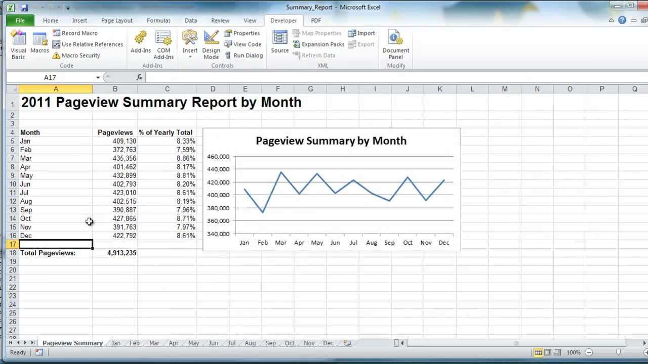 excel vba create summary report example youtube