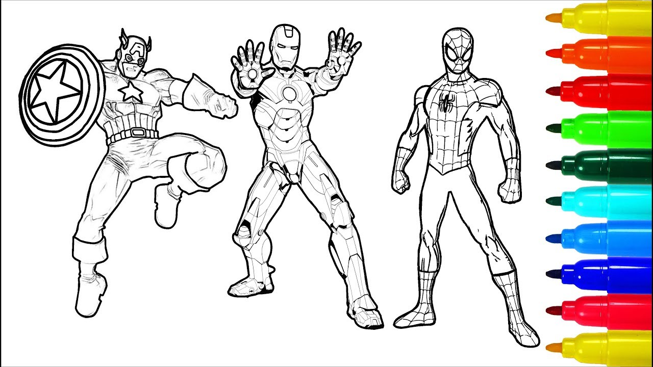 Spiderman Hulk Iron Man Coloring Pages Colouring Pages For Kids With Colored Markers