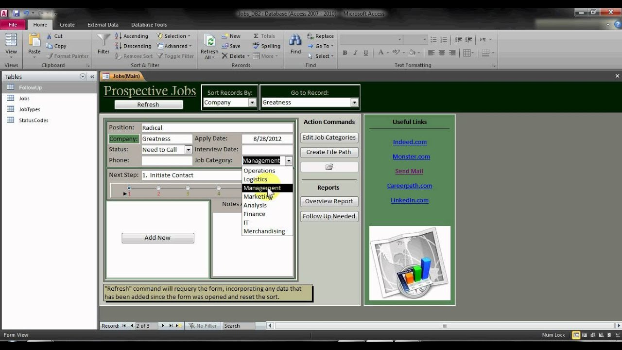 Track Your Job Applications - Access Database - YouTube