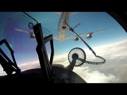 F18 Pilot Refueling Mid-Air