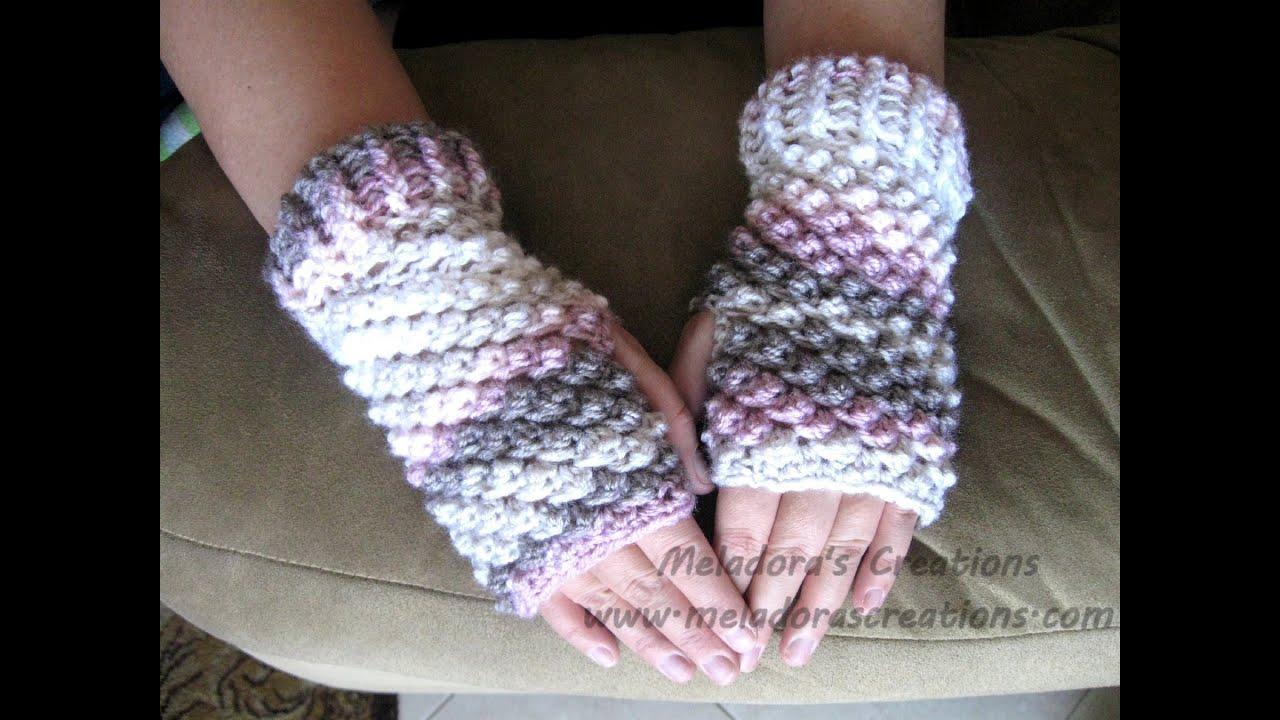 6e8f8afaf Raspberry Stitch Finger less Gloves - Crochet Tutorial (Crunch ...
