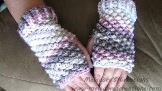 How to Crochet Finger less Crochet Gloves - Raspberry Stitch Finger less Gloves - Crochet Tutorial