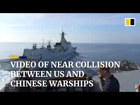 Video of near collision between US and Chinese warships