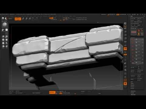 Game Environment Creation 28 - zBrush Pillar Sculpting Adding Cracks to the Center
