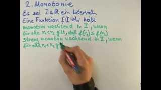 Mathe: Monotonie einer Funktion | Mathematik | Funktionen