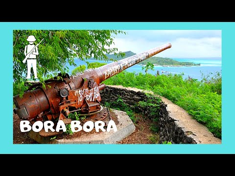 BORA BORA, the WW2 American guns (cannons) protecting from Japanese invasion (Pacific Ocean)