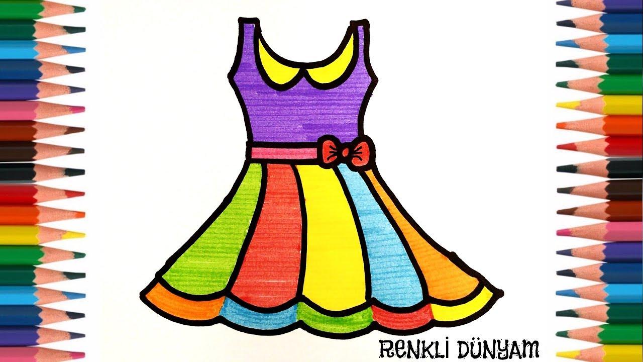 Elbise Nasıl Çizilir? Elbise Çizimi ( How to draw dress)-Renkli Dünyam
